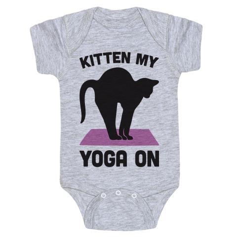 Kitten My Yoga On Baby Onesy