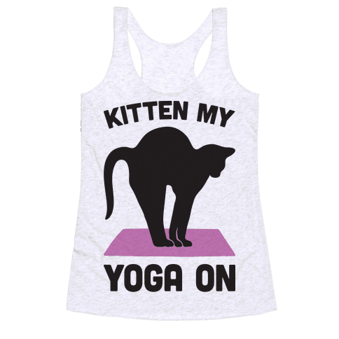 Kitten My Yoga On Racerback Tank Top