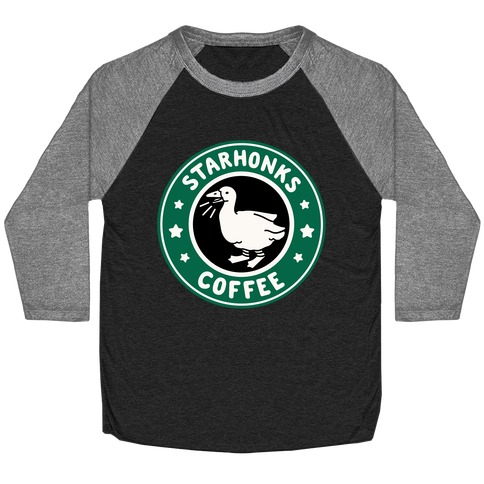 Starhonks Coffee Parody White Print  Baseball Tee