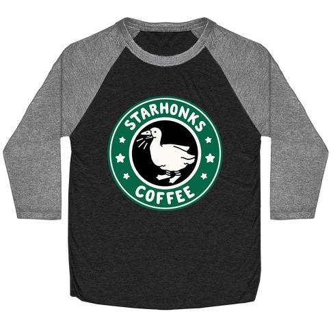 Starhonks Coffee Parody White Print  Baseball Tee