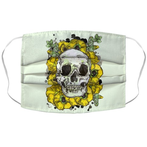 Skull on a Bed of Poppies Yellow Face Mask Cover