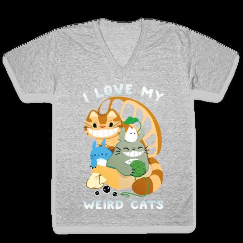 I love my weird cats V-Neck Tee Shirt