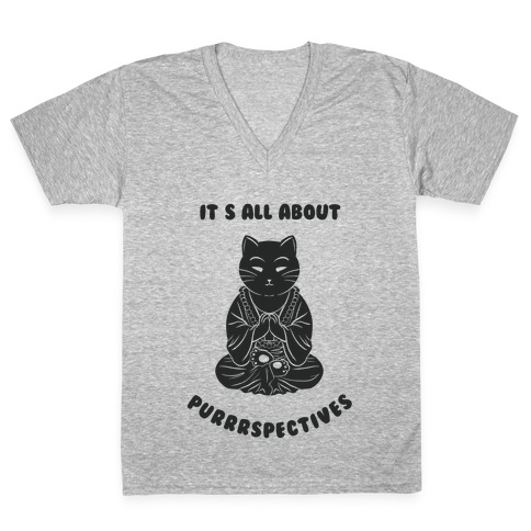 It's All About Purrrspectives (black) V-Neck Tee Shirt