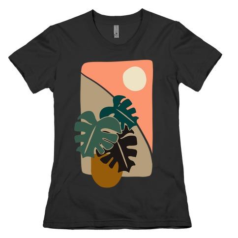 Minimalist Monstera Illustration Womens T-Shirt