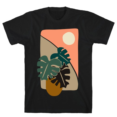 Minimalist Monstera Illustration T-Shirt