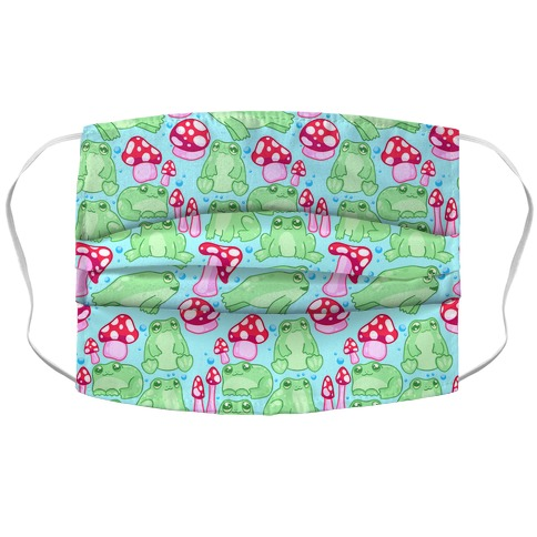 Frogs and Fungus Pattern Accordion Face Mask