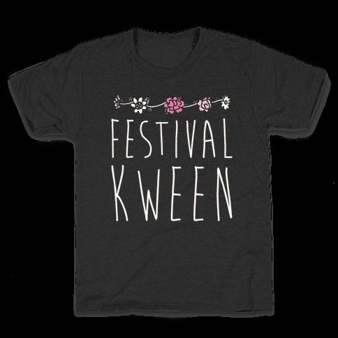 Festival Kween White Print Kids T-Shirt