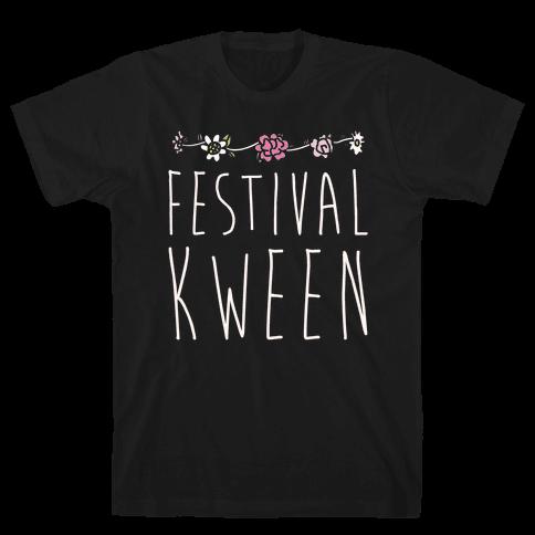 Festival Kween White Print Mens T-Shirt