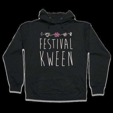 Festival Kween White Print Hooded Sweatshirt
