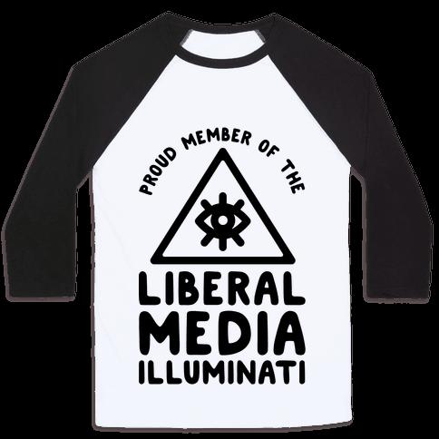 Liberal Media Illuminati Baseball Tee