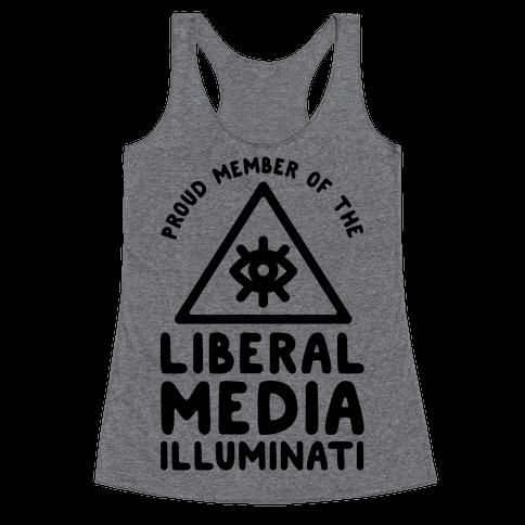 Liberal Media Illuminati Racerback Tank Top