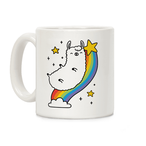 Llama On A Rainbow Coffee Mug