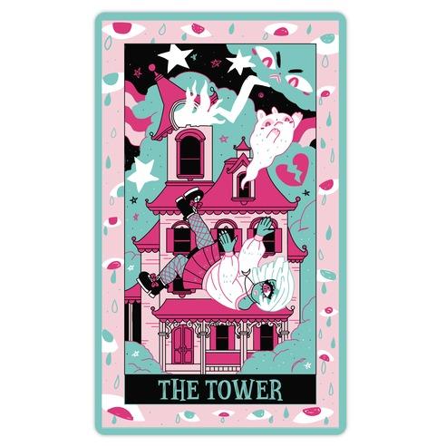 Creepy Cute Tarots: The Tower Haunted House Die Cut Sticker