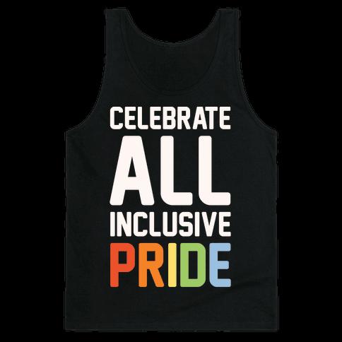 Celebrate All Inclusive Pride White Print Tank Top