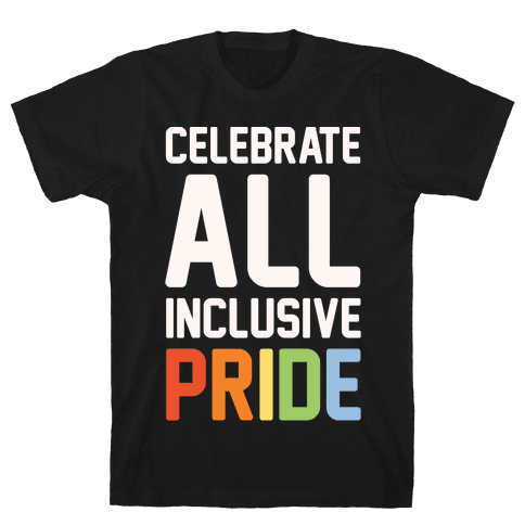 Celebrate All Inclusive Pride White Print Mens T-Shirt