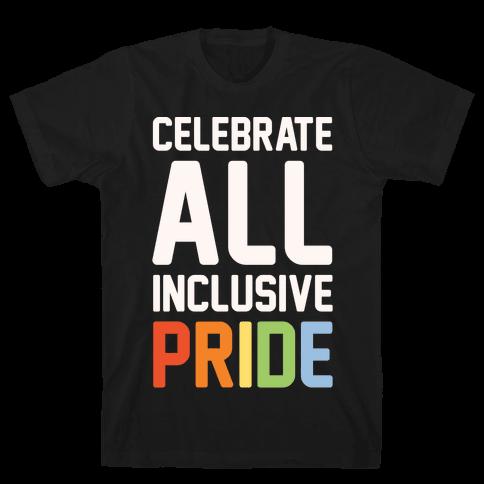 Celebrate All Inclusive Pride White Print Mens T-Shirt