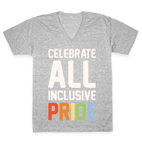 Celebrate All Inclusive Pride White Print V-Neck Tee Shirt