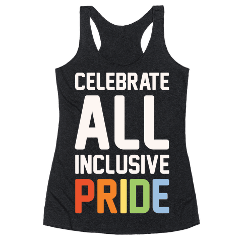 Celebrate All Inclusive Pride White Print Racerback Tank Top