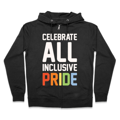 Celebrate All Inclusive Pride White Print Zip Hoodie