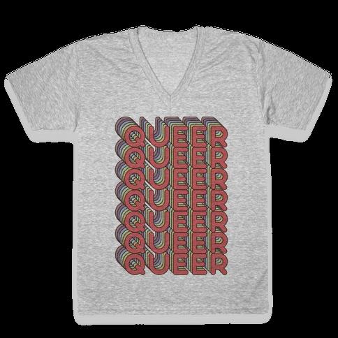 Queer Retro Rainbow V-Neck Tee Shirt