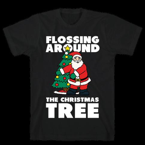 Flossing Around the Christmas Tree Mens T-Shirt