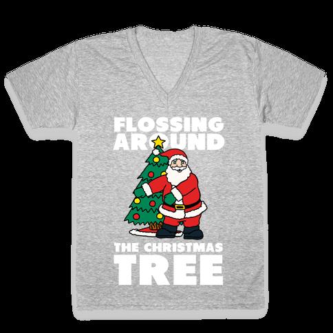 Flossing Around the Christmas Tree V-Neck Tee Shirt