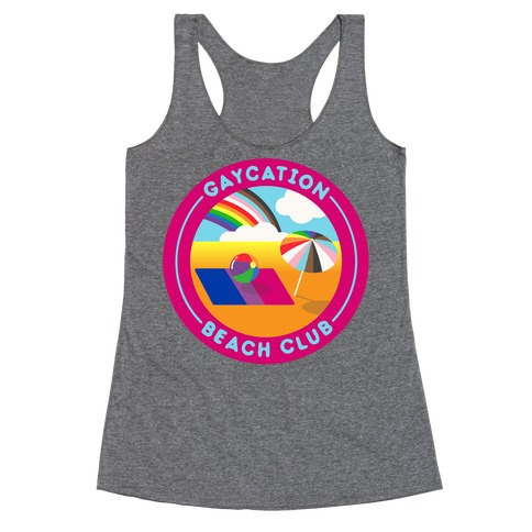 Gaycation Beach Club Patch Racerback Tank Top