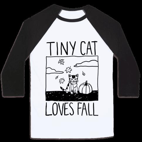 Tiny Cat Loves Fall Baseball Tee