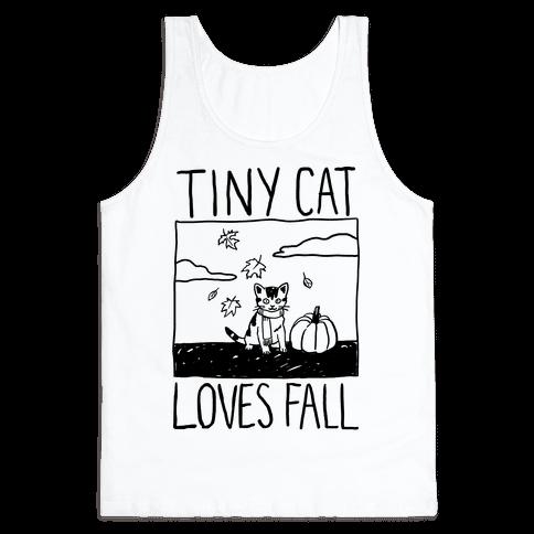 Tiny Cat Loves Fall Tank Top