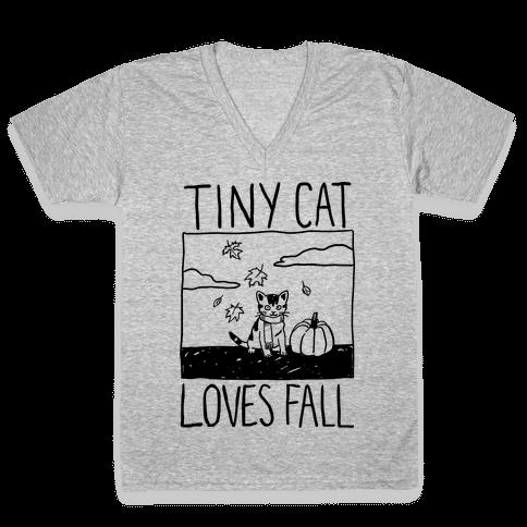 Tiny Cat Loves Fall V-Neck Tee Shirt
