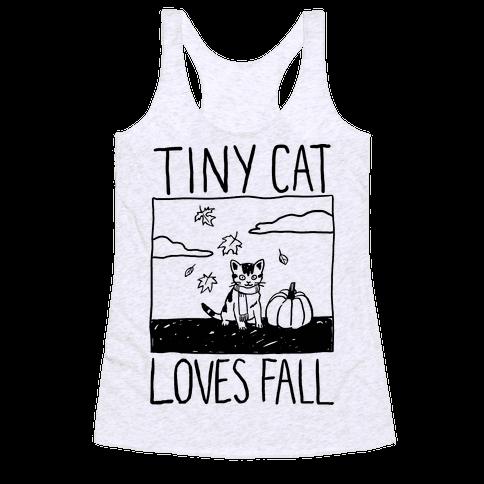 Tiny Cat Loves Fall Racerback Tank Top