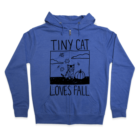 Tiny Cat Loves Fall Zip Hoodie