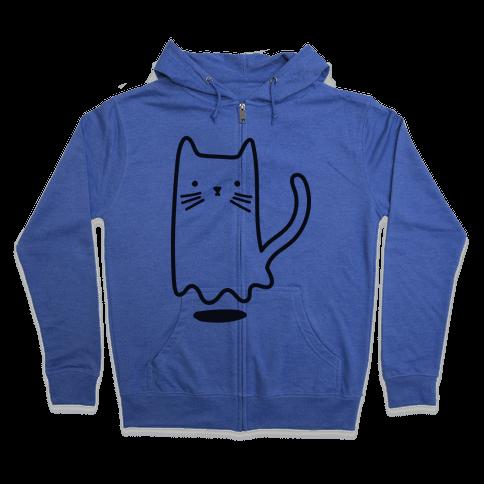Ghost Cat Zip Hoodie