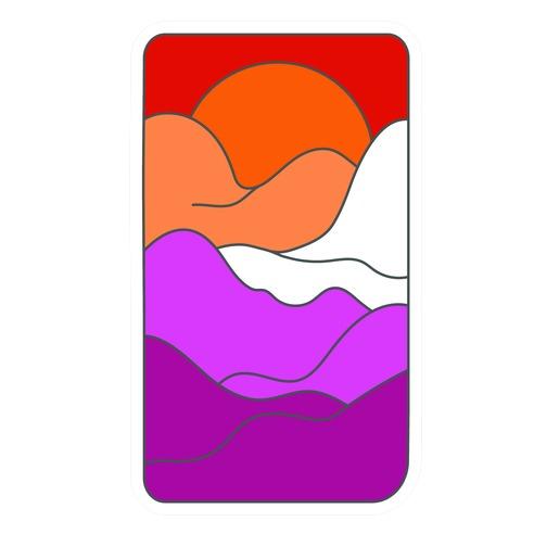 Groovy Pride Flag Landscapes: Lesbian Flag Die Cut Sticker