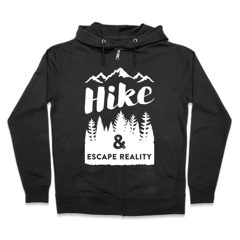 Hike & Escape Reality (White) Zip Hoodie