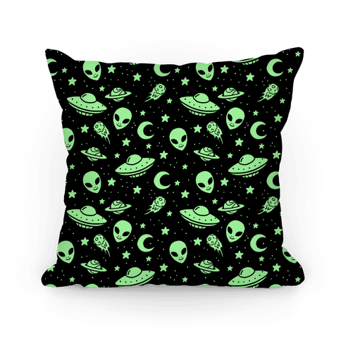 Aliens and UFO Cosmic Space Pattern Pillow