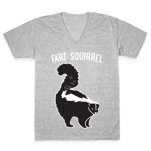 Fart Squirrel Skunk V-Neck Tee Shirt