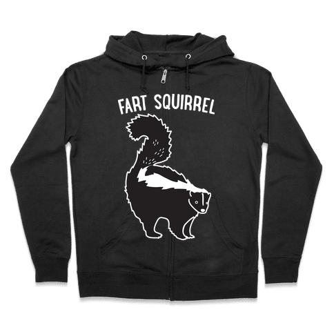 Fart Squirrel Skunk Zip Hoodie