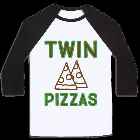 Twin Pizzas Parody Baseball Tee