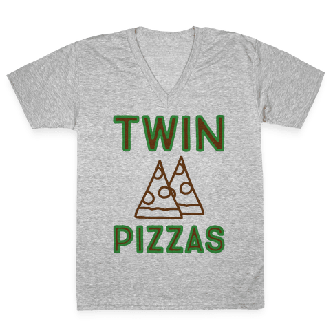 Twin Pizzas Parody V-Neck Tee Shirt
