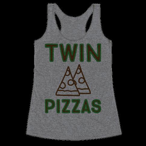 Twin Pizzas Parody Racerback Tank Top