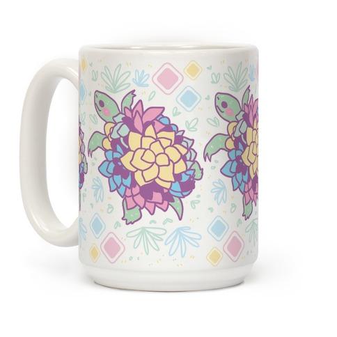 Pastel Succulent Turtle Coffee Mug