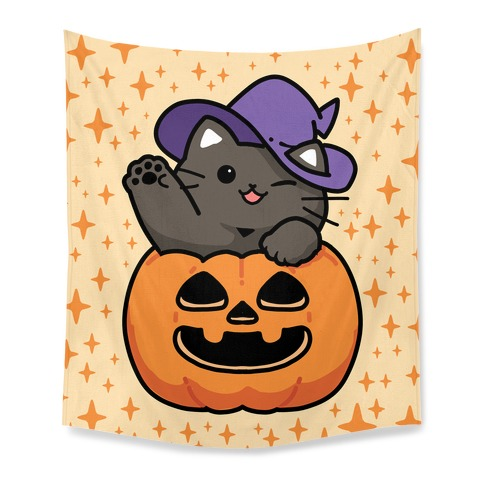 Cute Halloween Cat Tapestry