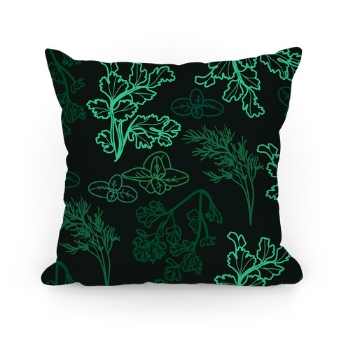 Green Herbs Pattern Pillow