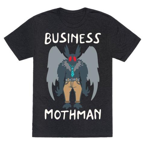 Business Mothman Parody White Print T-Shirt