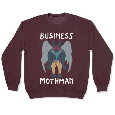 Business Mothman Parody White Print Pullover