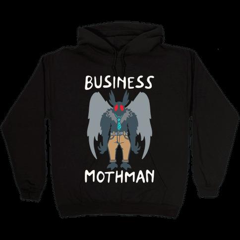 Business Mothman Parody White Print Hooded Sweatshirt