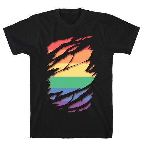 Ripped Shirt: Gay Pride Mens/Unisex T-Shirt