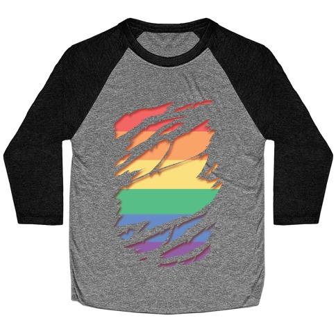 Ripped Shirt: Gay Pride Baseball Tee