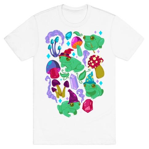 Magical Mushroom Frogs Pattern T-Shirt